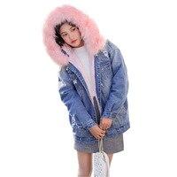 Thicken Coat Streewear Winter Women Warm Faux Fur Hooded Coat Jacket Denim Trench Parka Outwear Long Jacket Casaco Feminino