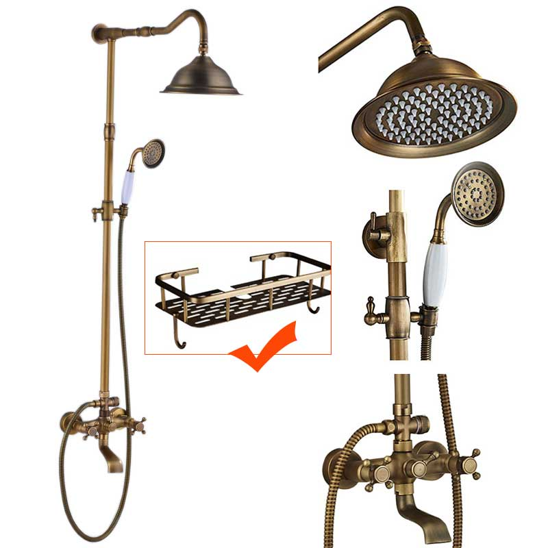 Bathroom 8 Rainfall Shower Head Shower Complete Faucet Antique Brass Bath and Shower Faucet Set with