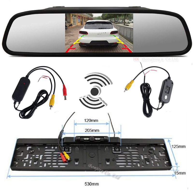 Car 5 Inch TFT LCD Color Monitor with Waterprtoof Rearview Camera and 2.4Ghz Wireless Set to Connect Monitor and Camera Parking