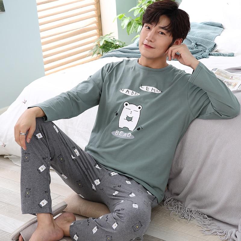 Men Pajamas Set Cotton Full O-neck Night Casual Sleepwear Tops+Pants Set Autumn Winter Men Home Clothes Male Tracksuit Plus XXXL