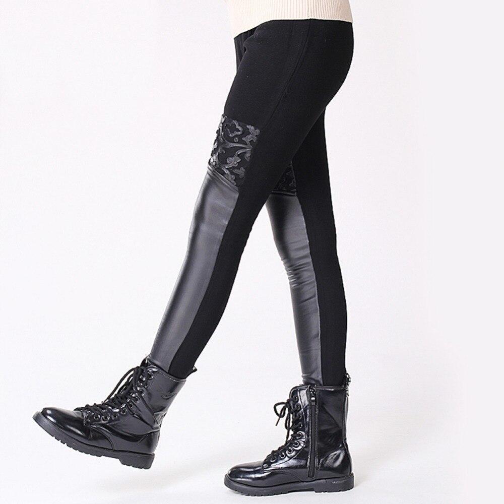 GuaGuaEgg 2016 Winter Autumn girls leggings PU Stitching lace elastic thick velvet pants girls trousers children