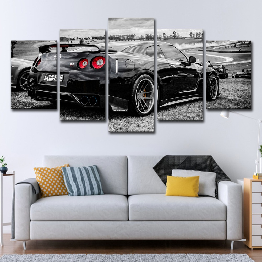 modular wall art pictures canvas hd printed poster modern home decor 5 piece flashy nissan gtr sports car painting sale no frame