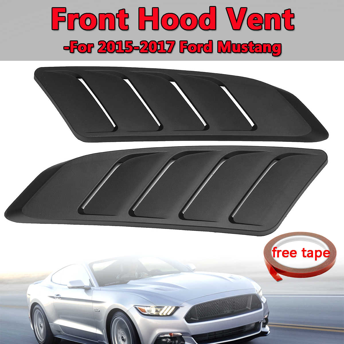 Front Hood Vent Fit For 2015-2017 For Ford For Mustang Panel Trim Black 2Pcs Universal Car Air Intake Scoop Bonnet Hood Vent