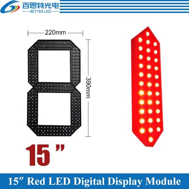 """4 יח\חבילה 15 """"אדום צבע חיצוני 7 שבעה מגזר LED דיגיטלי מספר מודול עבור גז מחיר LED תצוגת מודול"""