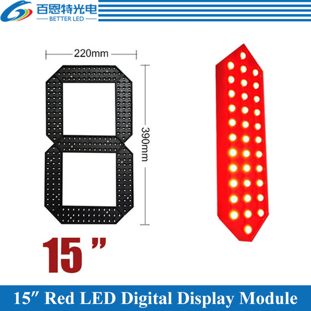 "4pcs/lot 15"" Red Color Outdoor 7 Seven Segment LED Digital Number Module for Gas Price LED Display module"