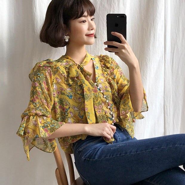 J40022 Women Chiffon Shirt