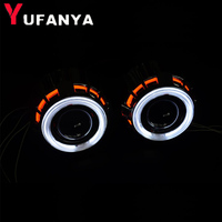 2.5 inch bixenon projector lens led shrouds dual double angel eyes ccfl design car lens mask cover DRL function white red blue