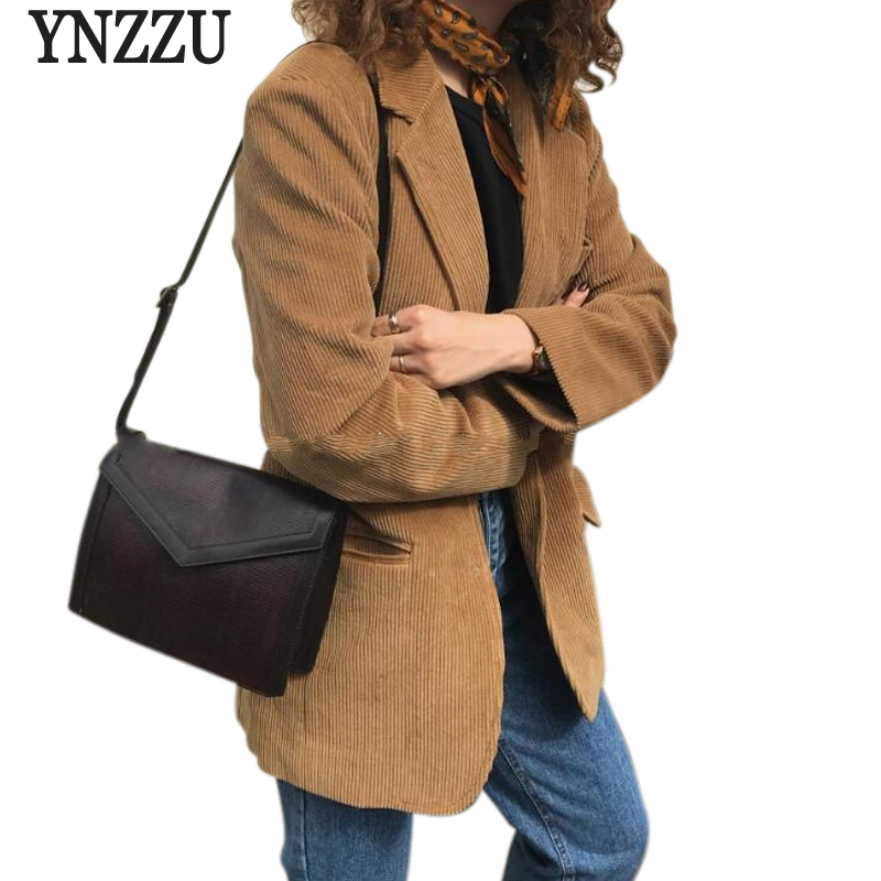Elegant Women Blazers 2018 New Spring Chic Solid Corduroy Long Sleeve Single Breasted Loose Female Blazer Ladies Work Wear AO522 in Blazers from Women 39 s Clothing