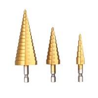 3pcs HSS Step Drill Bits Titanium Coated Straight Flute Pagoda Drill Bit Set Woodworking Perforator 1