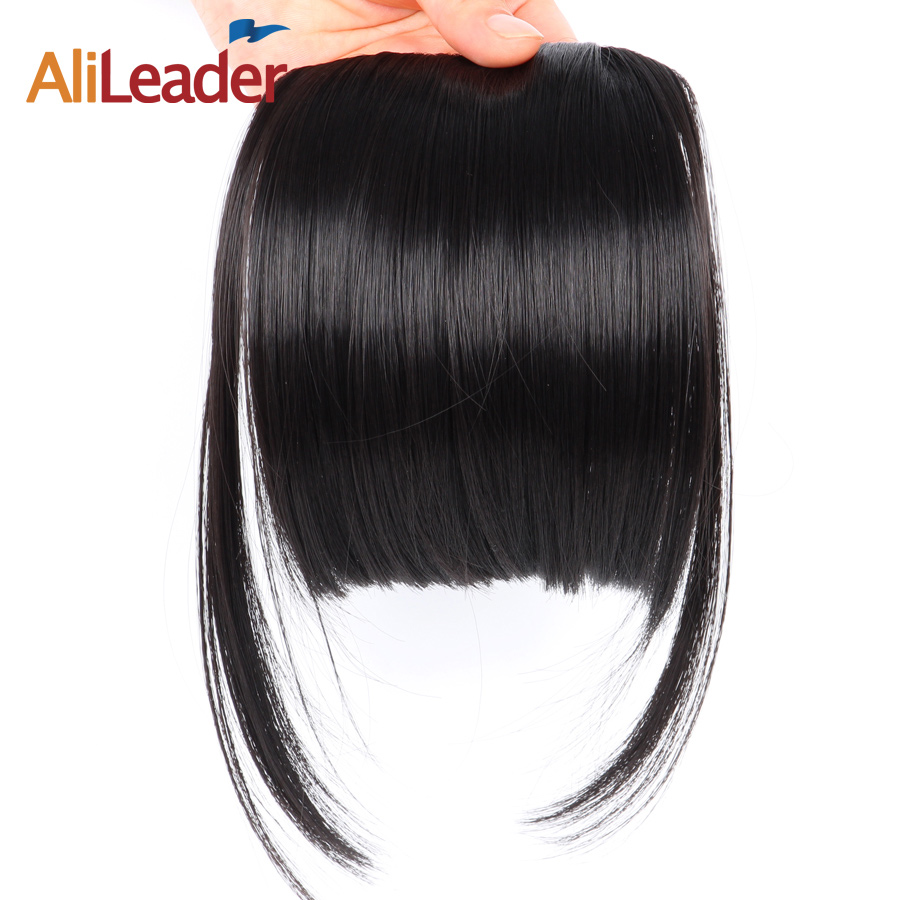 AliLeader Neat Front False Fringe Clip In Bangs Hairpiece With High Temperature
