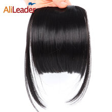 AliLeader Neat Front False Fringe Clip In Bangs Hairpiece With High Temperature Synthetic Hair(China)