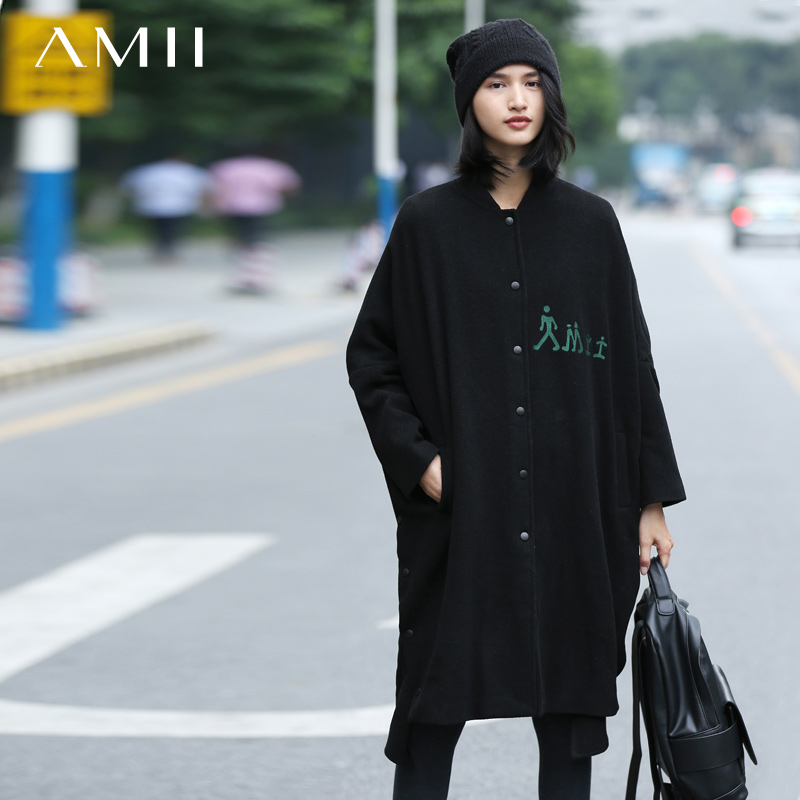 Amii Casual Women Woolen Coat 2018 Winter Loose Single Breasted Embroidery Female Wool Blends