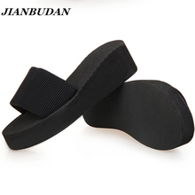 JIANBUDAN Women sandals, slippers 2016 new summer fashion solid color muffin sandals, home shoes, wedge heel sandals