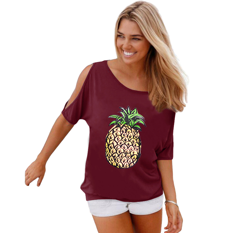 Summer Woman T Shirt Off Shoulder Casual Short Sleeve T-Shirt Hollow Out Sleeve t shirts woman Pineapple Printed Lady Tops