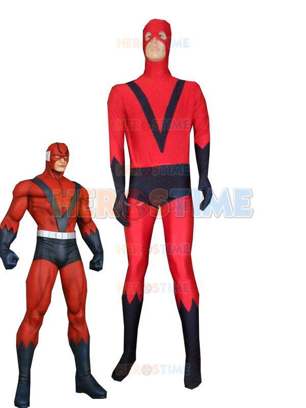Red Spandex Giant Man Costume Superhero zentai full body suit halloween costume free shipping