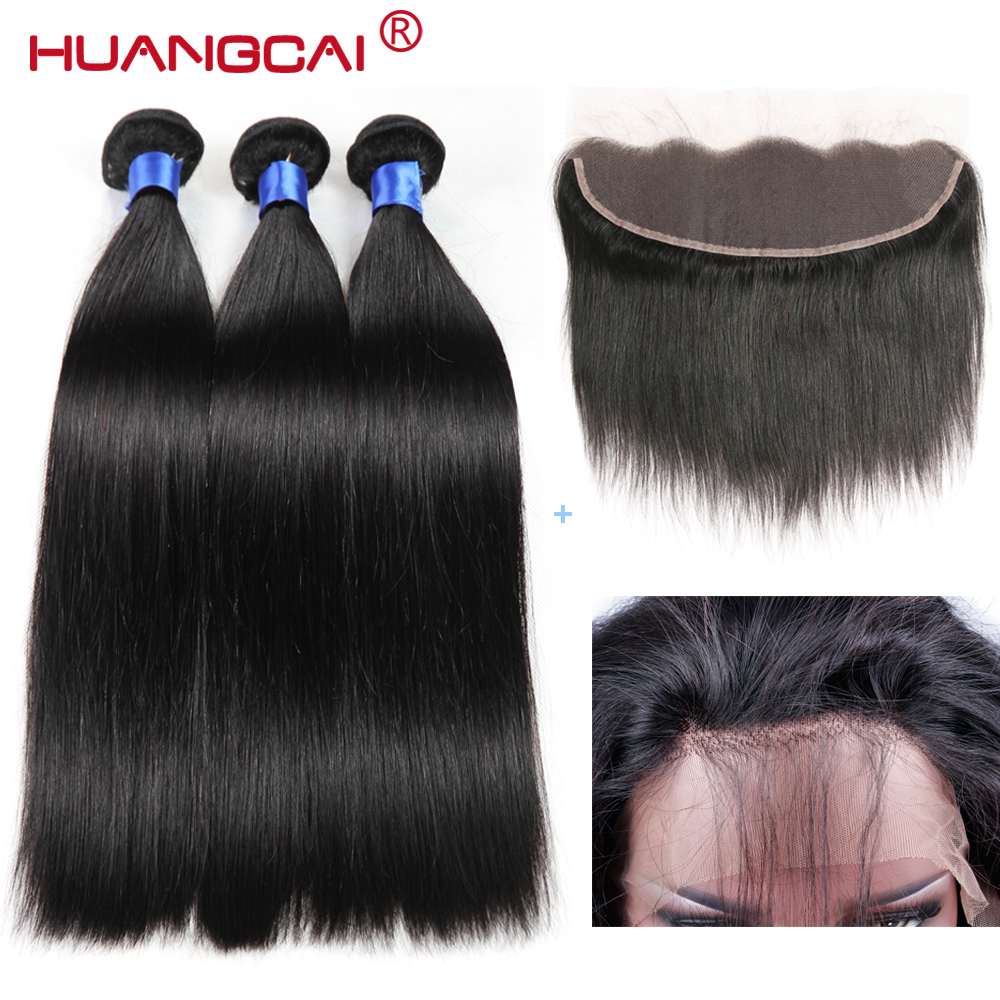 Huangcai Brazilian Hair Weave Bundles With Lace Frontal Closure Straight Human Hair 3 Bundles Non Remy Hair Extensions 4Pcs