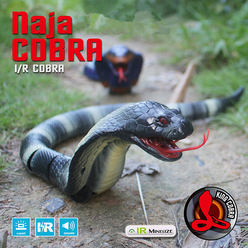 1Pcs Plastic Infrared remote control Cobra Funny Gadgets Novelty Surprise Practical Jokes Simulation Animal Prank RC Snake Toy(China)