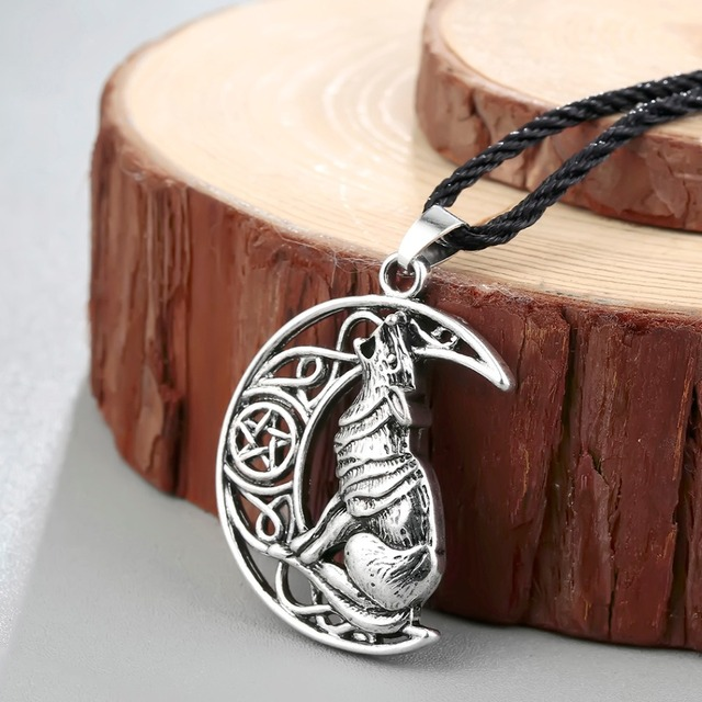 Chandler Money Wolf Celti Moon Viking Dog Necklace & Pendant Valknut Odin 's Symbol of Norse Viking Warriors Men's Accessary 1
