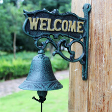 Antique Cast Iron WELCOME Dinner Bell Nordic Dark Green Wall Mount Home Decor Metal Door Bell