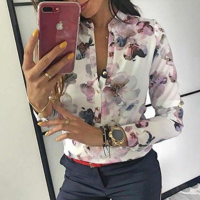 2019 Весенняя женская элегантная повседневная блузка с цветочным принтом на пуговицах, рубашка с длинным рукавом, базовый топ