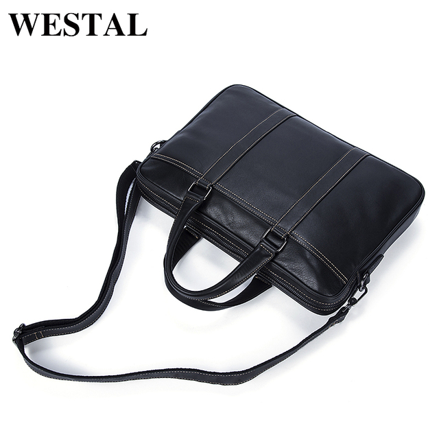 03f96b5db Westal maletín hombres de negocios Cuero auténtico mano Bolsas los del  mensajero bolsa Bolsos hombro moda Maletines cuero
