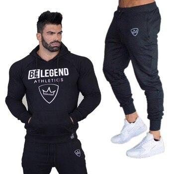 Gyms New Men s Sets 2018 moda ropa deportiva chándales conjuntos hombres  sudaderas con capucha + Pantalones casual Outwear trajes 72eee17ae651a