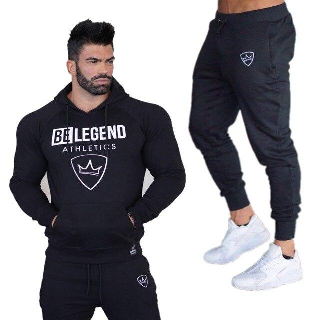 7fb398ec0bec74 Siłownie Nowe męskie Zestawy 2018 Moda Sportowa Dresy Zestawy męskie Bluzy  + Spodnie na co dzień