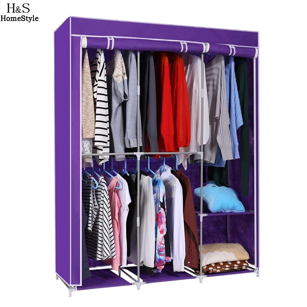 modern style home diy portable closet storage organizer wardrobe clothes rack with hanger dark purple ship