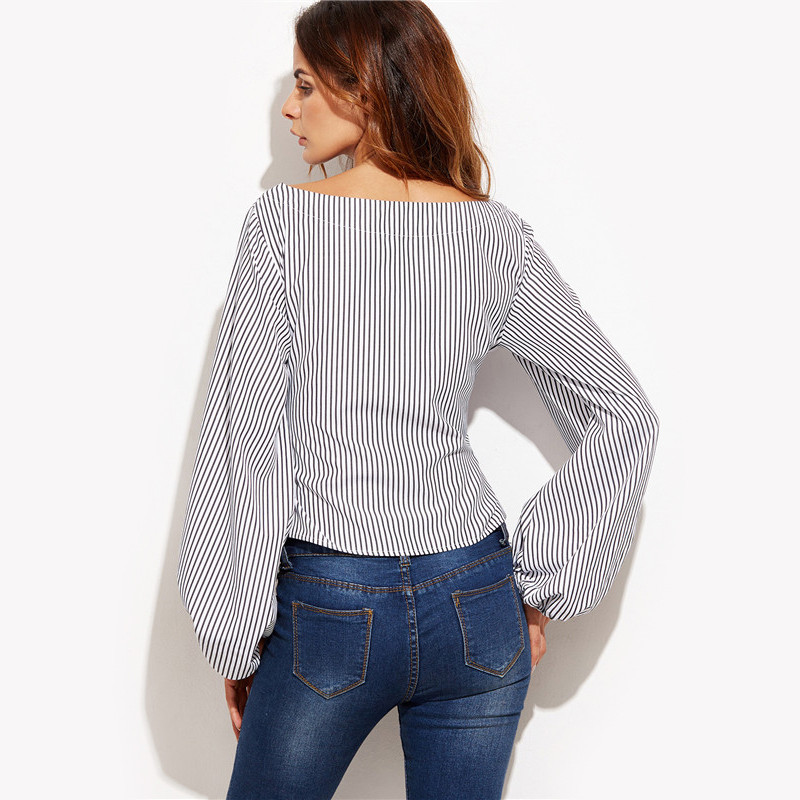 Shein women blouses black and white striped long sleeve for Black and white striped long sleeve shirt women