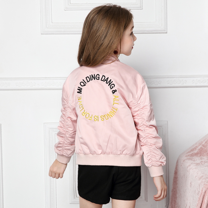 Short for girls pilots 2018 autumn new children's Korean alphabet coat