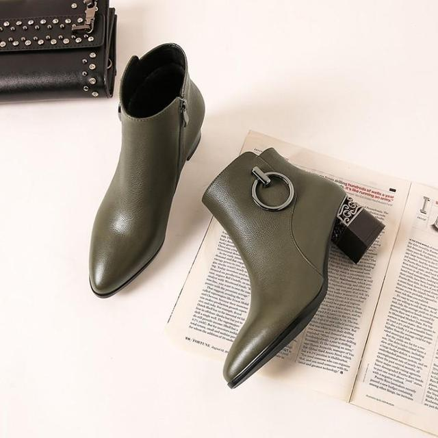 3cfd83789ad US $59.4 45% OFF|Black Armygreen Tan Color Leather Ankle Boots For Women  Round Toe Chunky Heel Ladies Booties Metal Ring Decoration Shoes Woman-in  ...