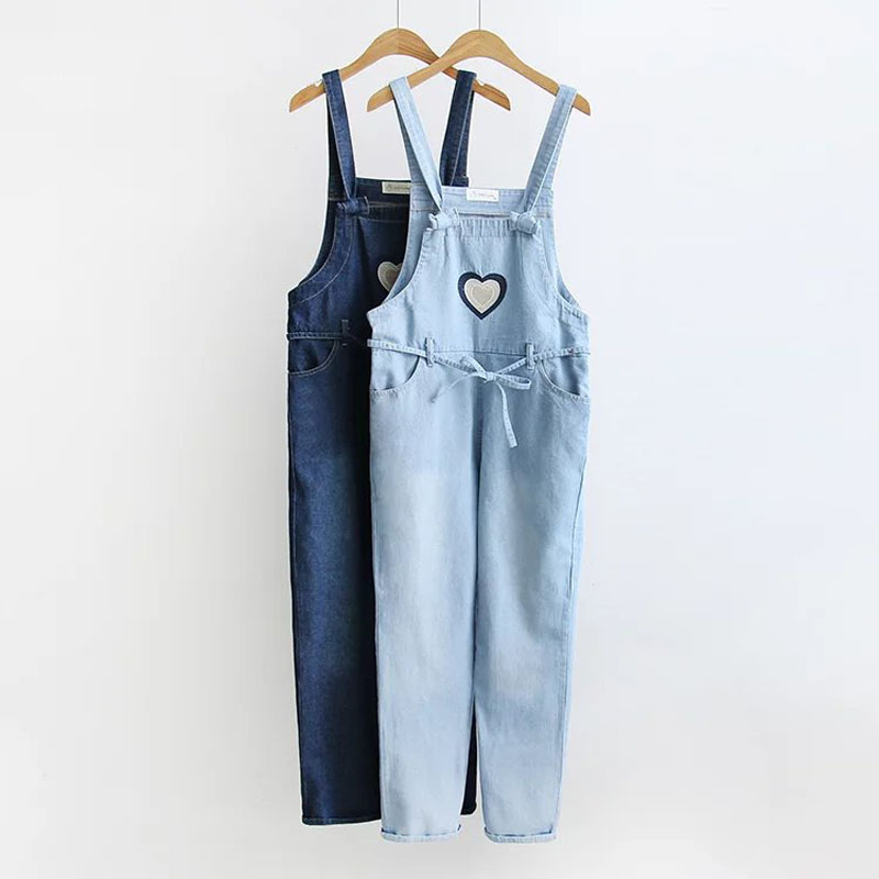 2018 New Women Denim Jeans Heart Embroidered Denim Jumpsuits Harajuku Cute Sweet Cotton Overall Jeans Female #A036