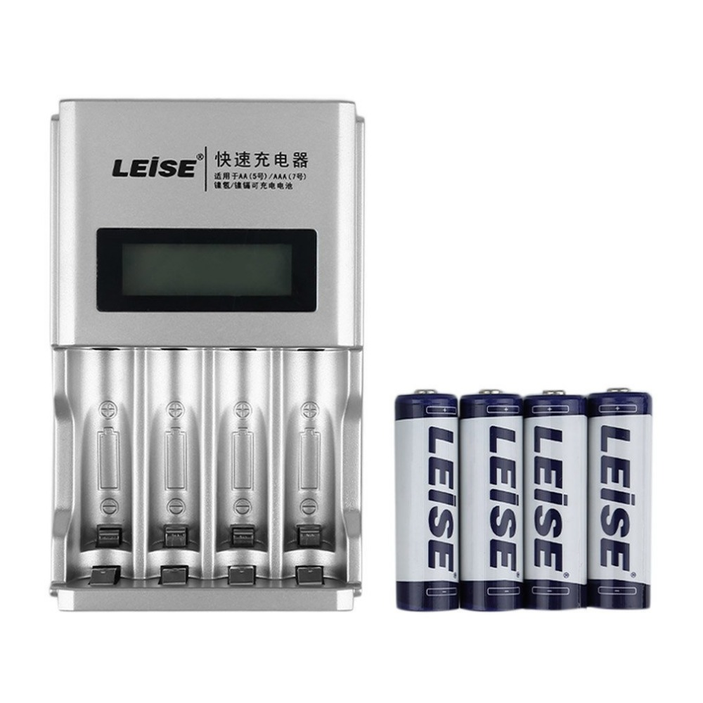 LEISE 4 Slots LCD Display Smart Intelligent Fast Quick Battery Charger Kit Rechargable Battery Charger+4 Batteries
