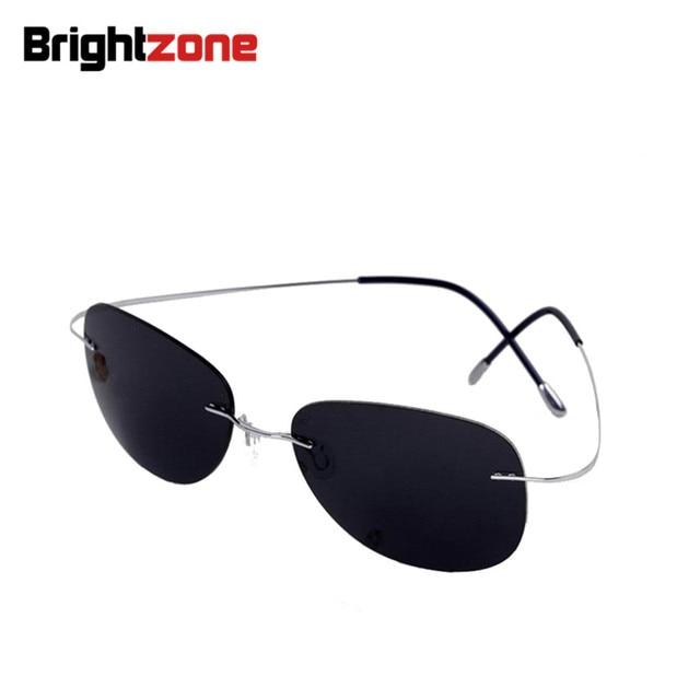 2015 NEW Cool 100% times pure titanium rimless sunglasses polarized lenses grey