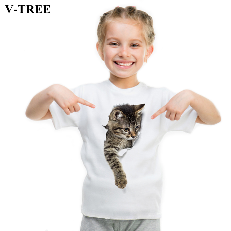V-TREE Kids T-shirt Summer Animal White T Shirts For Boys Girls Cotton Tops Children's Sweatshirt School Clothes Lovely Clothing 2018 summer tops korean fashion t shirt women two piece set sexy beading sequin vest white velvet t shirts high quality clothes