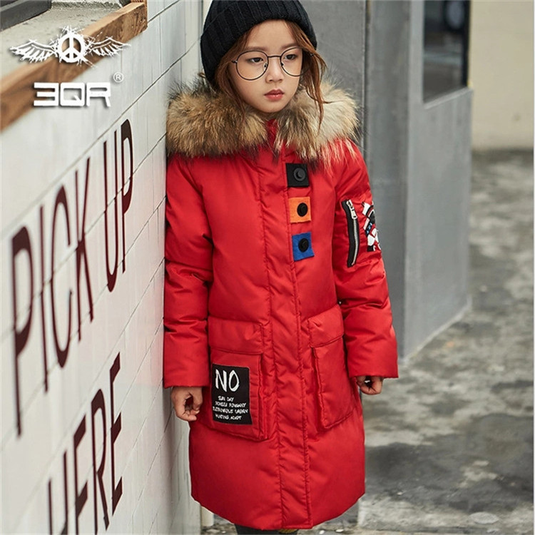 Girl Korean style new long thickening down jacket winter for size 4 5 6 7 8 9 10 11 12 years child casual fashion coat outerwear
