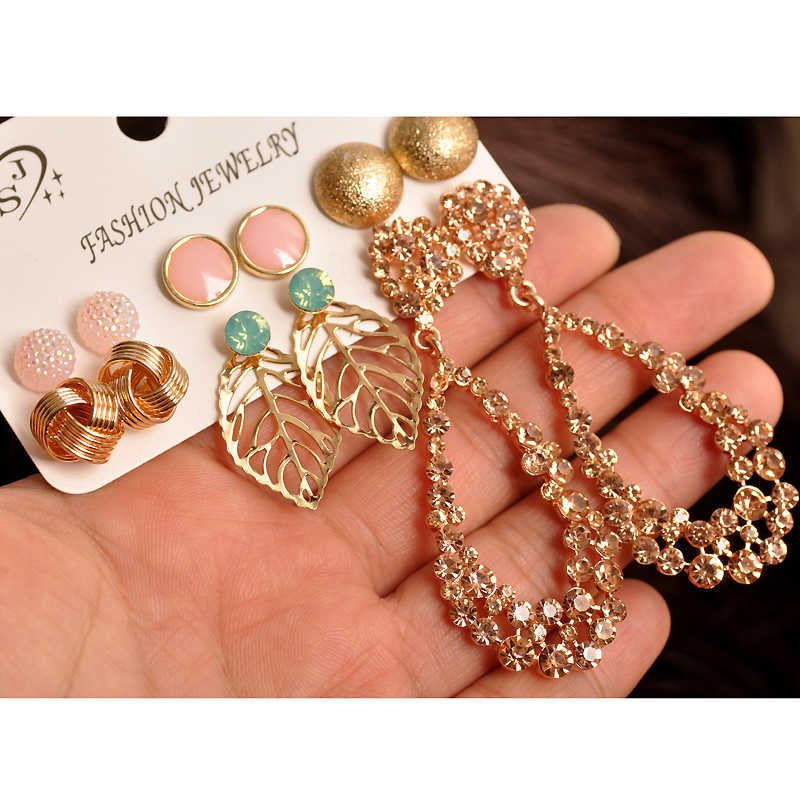 New fashion women jewelry wholesale ladies party pearl pink beautiful style mix-and-match gorgeous 6 pairs /set earrings gift