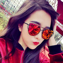 CURTAIN Zonnebril Dames Sunglasses For Women Metal Reflective Lens Sweet Cat Eye Sun Glasses Female Alloy Frame UV400 Protection retro style zinc alloy frame pc lens uv400 protection sunglasses silver red revo