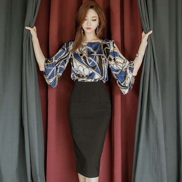 2018 Autumn Bat Sleeve Loose Casual Blouse Shirt High Waist Midi Skirt Women Two Pieces Knee-Length Sets Pencil Party Suit Dress