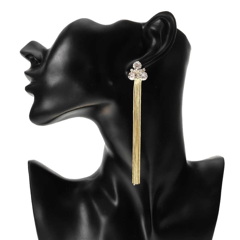 Beurself長いタッセルイヤリングゴールドシルバーカラーメタルクリアラインストーンドロップイヤリング女性のためのステンレス鋼針ジュエリー