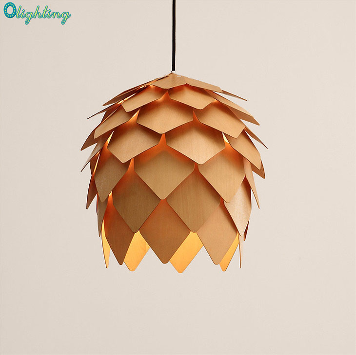 Modern DIY Pinecones Pendant Light Nordic Scandinavia Suspension Pendant Lamp Oak Wood Artichoke Lampara Hanging Lighting denmark antique pinecone ph artichoke oak wooden pineal modern creative handmade wood led hanging chandelier lamp lighting light