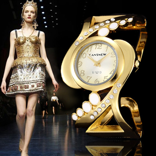 Hot Sale Fashion Golden Women Bangle Watches Ladies Girls Charm Casual Clock Uni