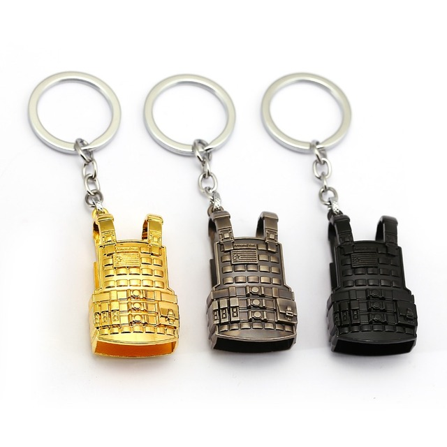 8d31d0a35a PLAYERUNKNOWNS BATTLEGROUNDS Keychain PUBG Key Ring Level 3 Vest Military  Body Armor Model Metal Car Key Chain Pendant Jewelry