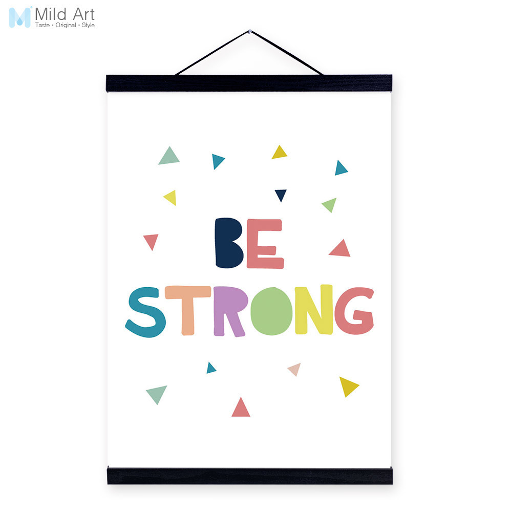 Modern motivational typography strong quotes wooden framed canvas modern motivational typography strong quotes wooden framed canvas painting kids room decor wall art print pictures poster scroll in painting calligraphy jeuxipadfo Image collections