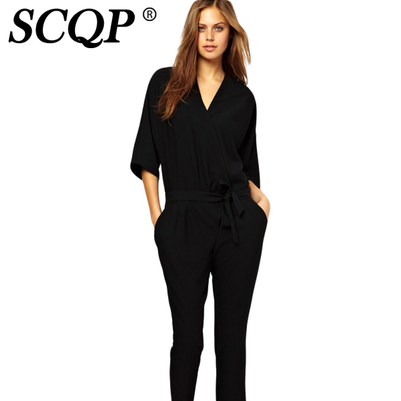4a4ffbd29ac SCQP Solid Black Deep V Neck Half Sleeve Ladies Jumpsuit Chiffon Casual  2016 Formal Sexy Beach Jumpsuits Womens Romper Overalls-in Rompers from  Women s ...