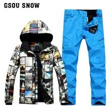 GSOU NIEVE juego de esquí de invierno para los hombres los hombres chaqueta de esquí snowboard pantalones esqui jas mannen traje de esquí ropa de esquí de montaña