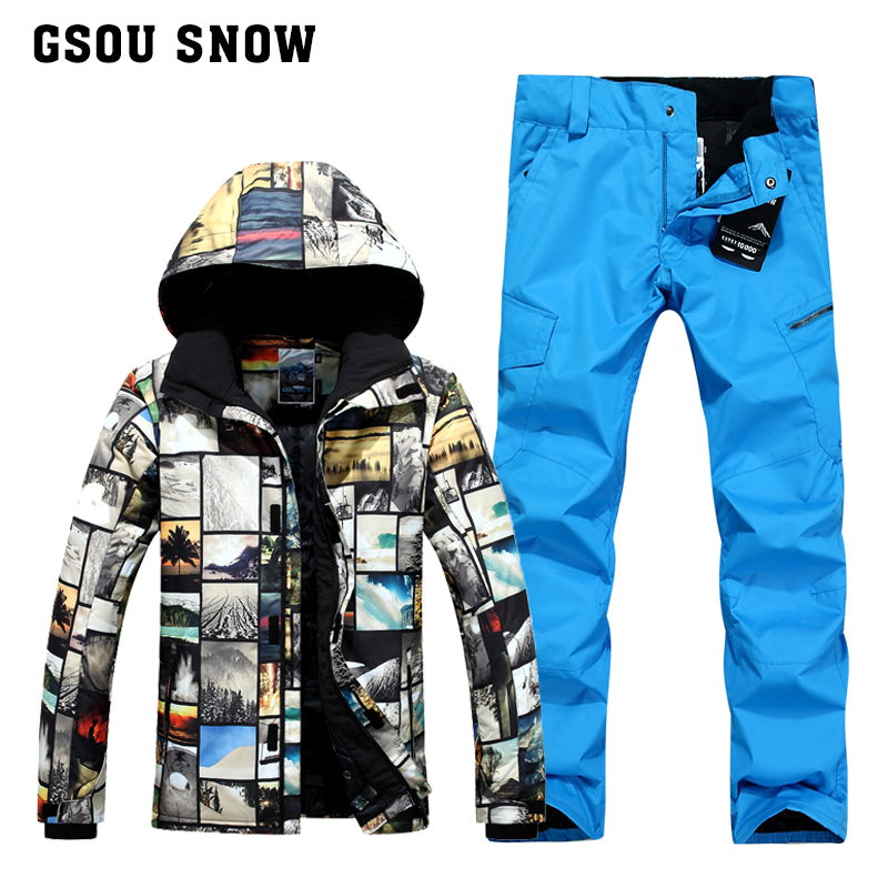 GSOU combinaison de ski d'hiver neige pour homme veste de ski homme pantalon de snowboard esqui traje ski jas mannen vêtements de ski de montagne