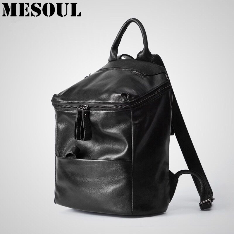 Fashion Backpack Bag Girl School bag Shoulder Bags Casual Women Real Genuine Leather Sheepskin Travel  Backpack mochila feminina doodoo fashion streaks women casual bear backpacks pu leather school bag for girl travel bags mochilas feminina d532