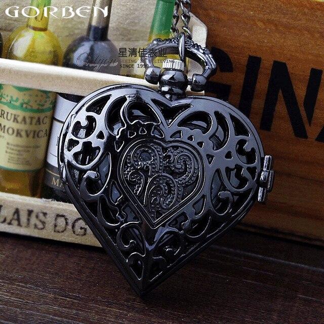 Retro Unique Black Quartz Heart-shaped Pocket Watch Full Steel Necklace Pendant