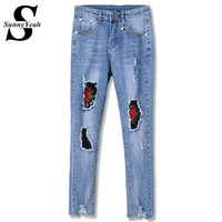 SunnyYeah Plus Size Ripped Embroidery Jeans Women 2017 Pencil Pants Ladies Denim Trousers High Waist Stretch